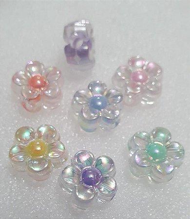 Flor Margarida Irizada com miolo  - 13mm - *embalagem com 12 unidades de cores sortidas*