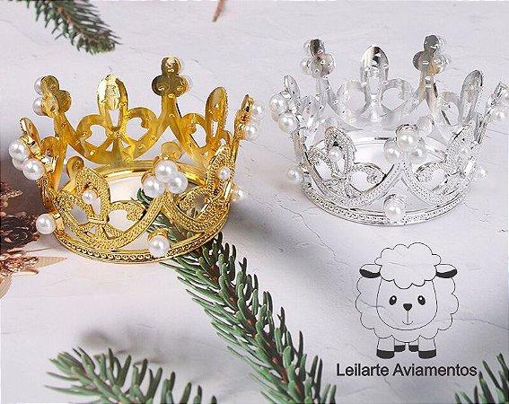 Coroa Plástica ABS - Dourada ou Prateada - 69mm (diâmetro superior) x54mm (diâmetro inferior) x33mm (altura) - *venda por unidade*