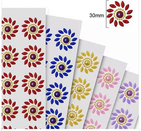 Sticker - Cartela Adesiva - Autocolantes - FLOR PEROLIZADA - cartela com 21 flores de 30mm cada (clique na cor para ver foto da cor. Para a cor dourada ou prata verifique a tabela na observação)
