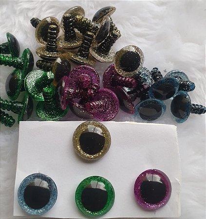Olho com Glitter - 11mm 13mm 15mm Dourado, Azul, Lilás, Verde - 18 mm Verde-Pacote com 5 pares e Travas