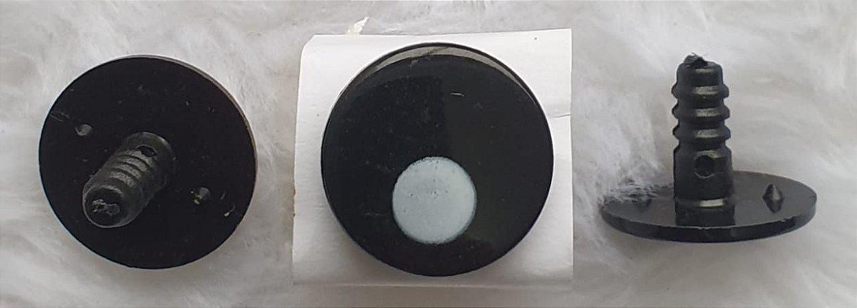 Olho Redondo Preto com Pupila Branca - 20 mm - Pacote com 5 Pares e Travas