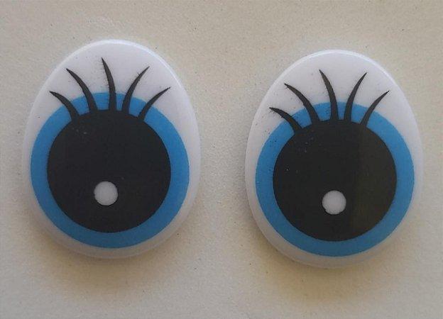 Olho Oval Branco com Azul e Preto - altura de 24 mm - Pacote com 3 pares e travas