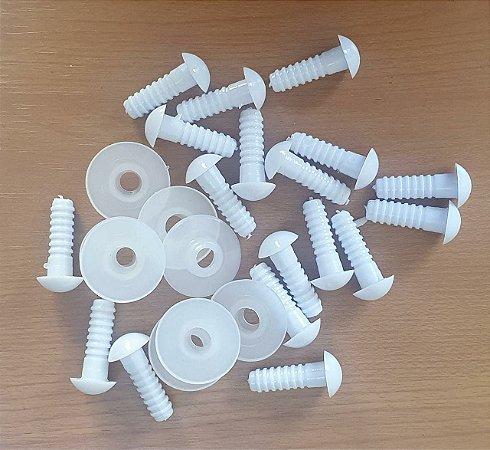 Articulação 13 mm - cor Branco - pino de 27 mm - Pacote com 4 pares e travas