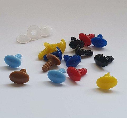 Fuça, Focinho ou Olho Oval - Amarelo ((Hello Kitty) , Vermelho, Azul Royal, Azul claro, Caramelo, Rosa Médio ou Preto - Tam. 15X10mm ou 20X15mm - Pacote com 5 Pares e Travas