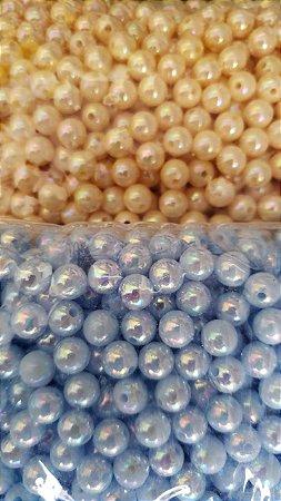 Pérola Irizada - tamanhos 6mm ou 8mm - Pacote com 20 gramas - Cores: Azul ou Creme