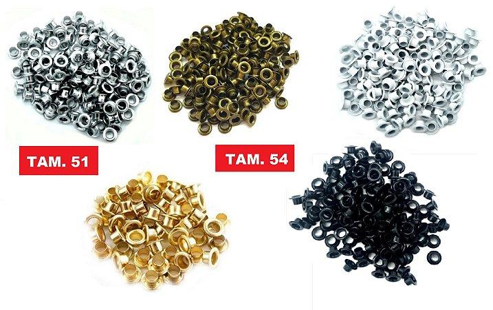 Ilhós de Ferro- (Nº 54 - 8mm) (Nº 51 - 9mm) - Pacote com 45 gramas  Cores: Prata-Dourado-Ouro Velho