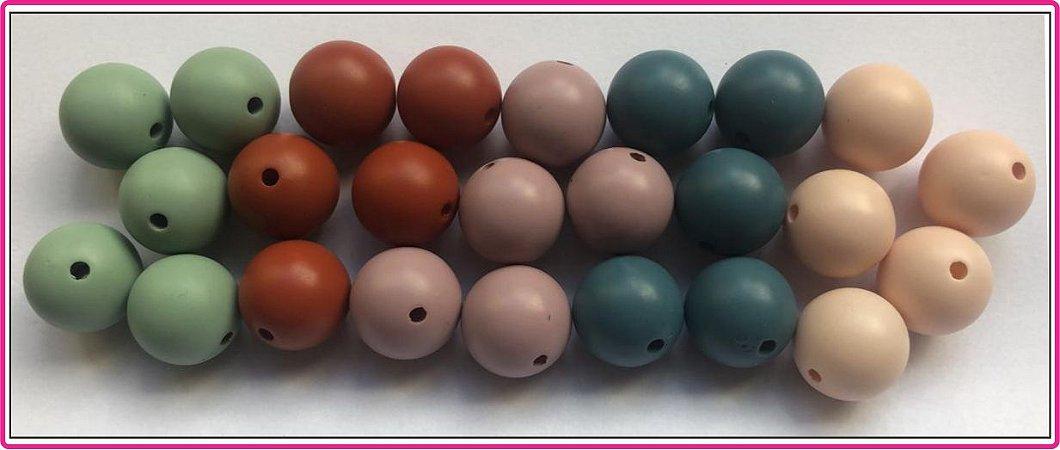 Bola Acrílica Fosca Envernizada  - Tamanho 18 mm - Cores: Verde claro, Caramelo, Lilás, Azul petróleo ou Nude - (Pacote com 5 unidades)