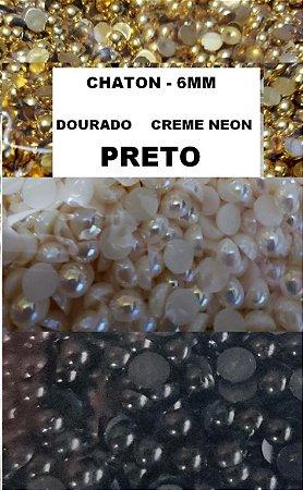 Chaton - Tamanho 6 mm - Cor Creme Neon, Dourado ou Preto - Pacote com 10 gramas