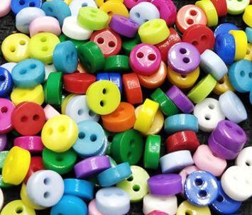 Micro Botão Colorido -Plastico - Tamanho 6 mm - (Pacote com 50 unidades)