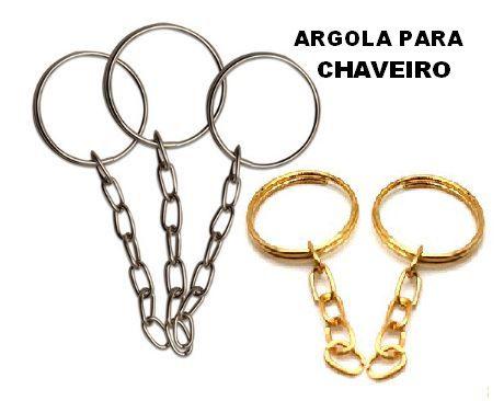 Argola Metálica para Chaveiros - Cores: Prateado ou Dourado - (Pacote com 10 Unidades)
