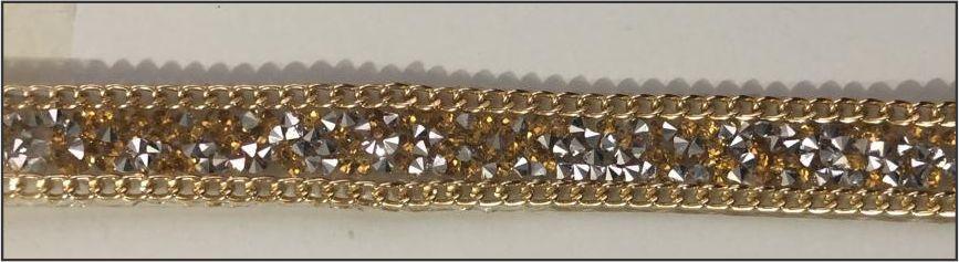 Fita Metalizada Dourada com detalhes em Prata - 15 mm - Avesso siliconado - (Venda por Metro)