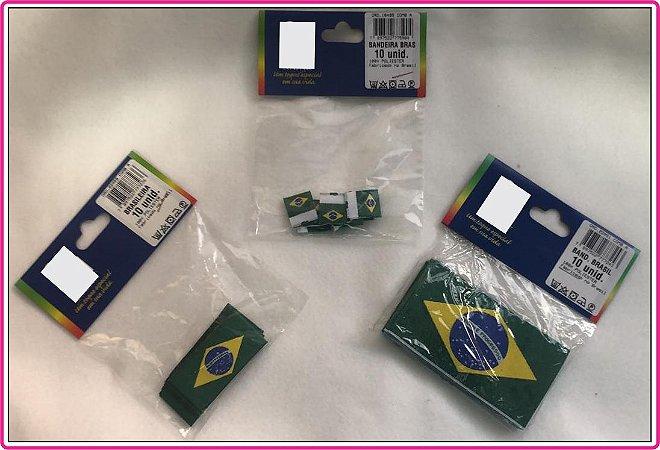 Etiqueta Bandeira do Brasil - Tamanhos: (P-17X12 mm Dupla Face) - (M-50X25 mm) (G-85X50 mm) - (Pacote com 10 etiquetas)