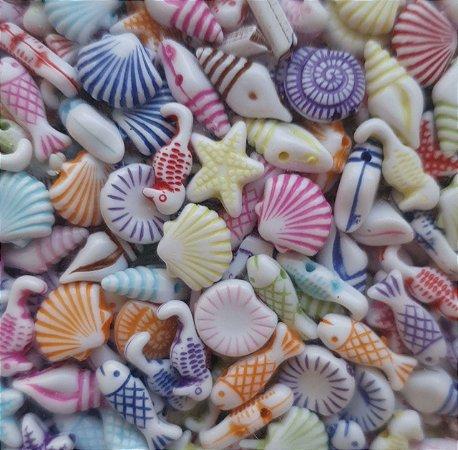 Passante Fundo do Mar - Colorido - Tamanho 8 mm - (Pacote com 20 gramas)