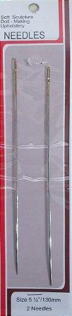Agulha de Boneca - Aço  (Longa-130mm) - (Kit com 2 agulhas)