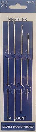 Agulhas para Costura Frivolite - Longa com ponta   - *Kit com 4 agulhas - (2 agulhas 175mm, 1 agolha 150mm e 1 agulha 110mm)*