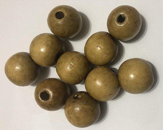 Bola de Madeira (Passante) - 16 mm (pacote com 10 bolas) Cor: Fumê