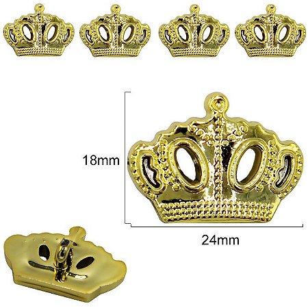 Botão Coroa com pé  - Dourado-  Plástico - Tamanho 24mmX18mm - Embalagem com 3 unidades