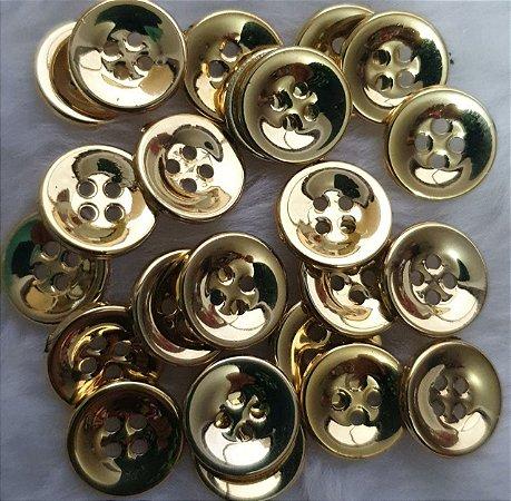 Botão 4 furos DOURADO - pacote com 10 botões-  12mm -