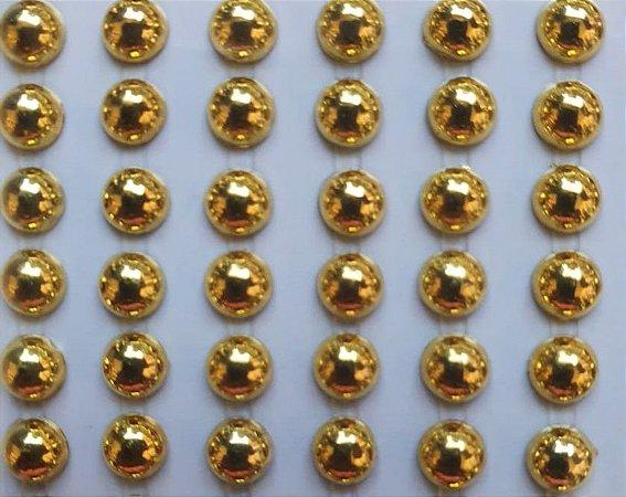 Sticker's - Autocolantes - 1/2 perola dourada - Mod. P-5 Dourado - Tamanho: 5 mm - *cartela com 360 unidades de meia pérola
