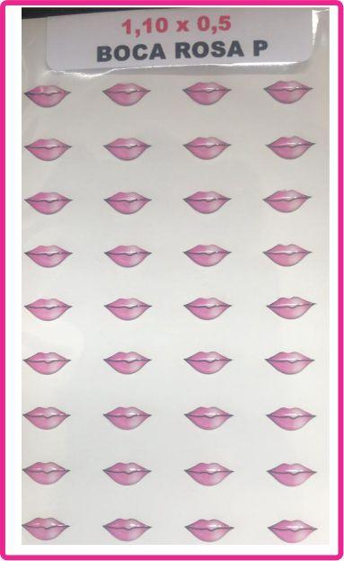 Boca Resinada Autocolante - *Cartela com 36 boquinhas na cor rosa * Tamanho: 11X5 mm