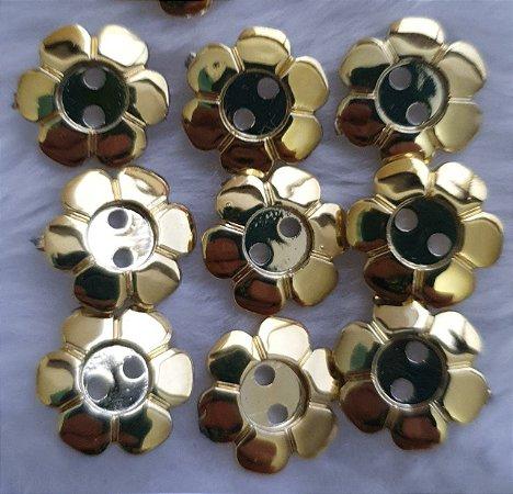 Botão plástico FLOR P DOURADO ou PRATEADA - pacote com 10 botões- 10mm