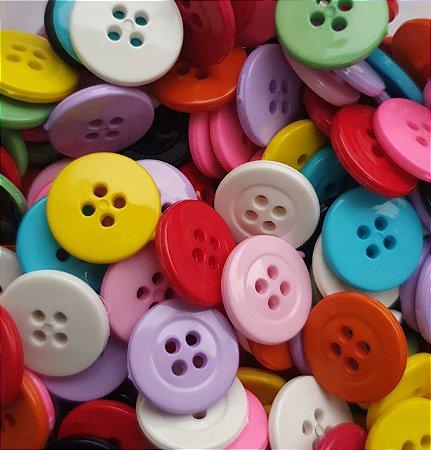 Botão 4 Furos - Colorido - 15 mm - plástico - *Pacote com 20 Unidades cores aleatórias*