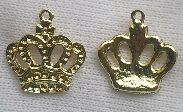 Pingente Coroa de metal - Dourada -  23mm x 25mm - Unidade