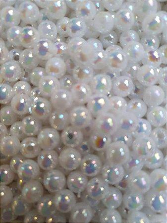 Pérola irisada  - bola plástica - tamanho 5mm - Pacote com 20 gramas - Cor Branco Neon ou furtacor