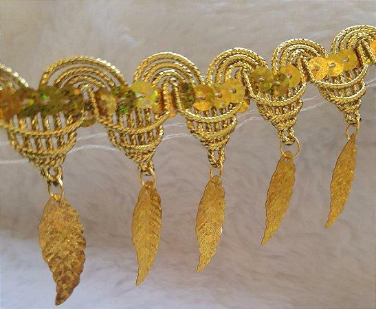 Passamanaria Dourada - 52 mm - Com pingente folha- (Venda por metro)