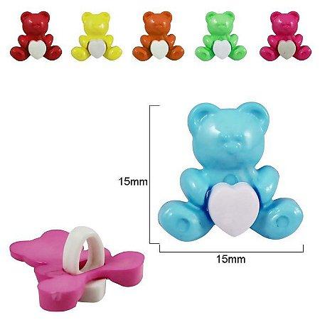 Botão infantil Urso - 15mm x 15mm - pacote com 3 unidades