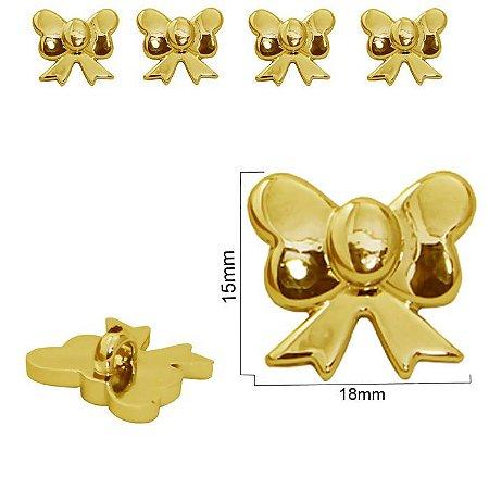 Botão Laço dourado  com pé - 15mm x 18mm - pacote com 3 unidades