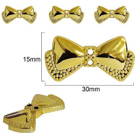 Botão Laço dourado com dois furos - 30mm x  15mm - embalagem com 3 unidades