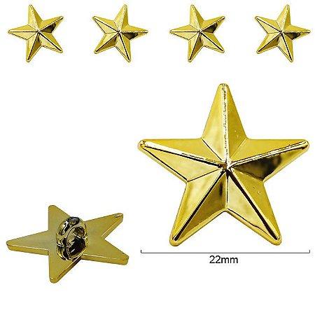 Botão Estrela dourada - 22mm  - pcte com 5 unidades