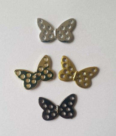 Botão Borboleta  Borboletinha metalizado- 13mm x 21mm - Cores: Prata e Dourado -  Embalagem com 5 unidades  da mesma cor