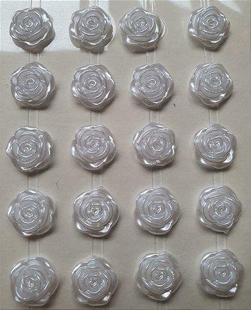Sticker's - Autocolantes - Rosa Branca - 10mm - cartela com 68 rosinhas