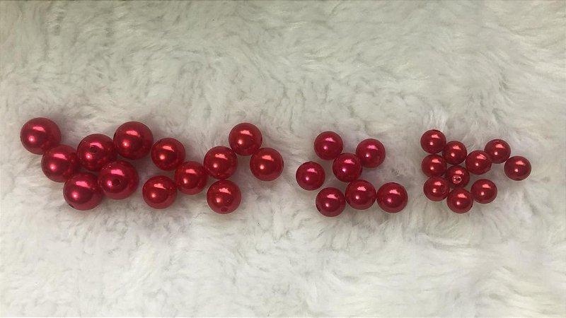 Pérola ABS Vermelha - Tamanhos 8, 10, 12 e 14 mm *Pacote com 20 gramas*