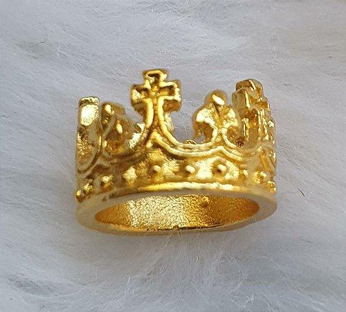 Coroa pingente de metal, 1,3x1,3cm (PP), dourada - Venda por Unidade