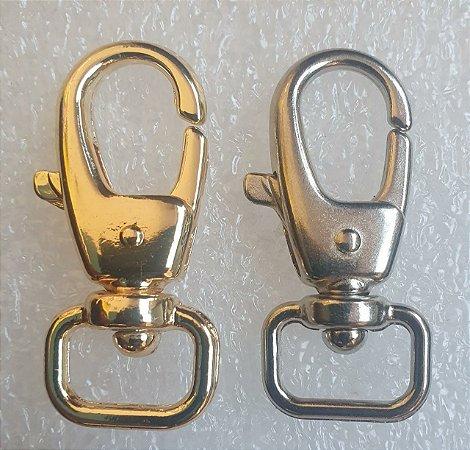 Mosquetão de Metal - 48mm x 20 mm - Cores: Dourado ou Prateado (níquel) - Venda por unidade