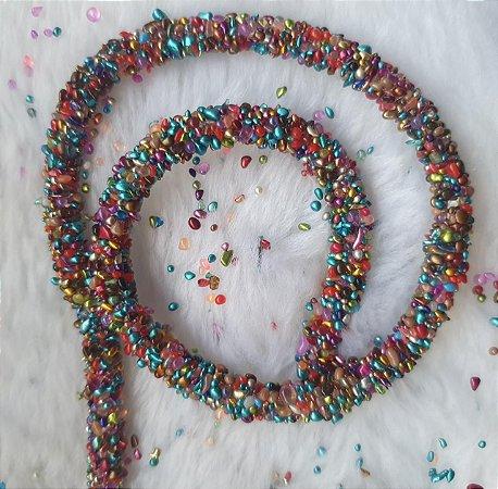 Tubo Cordão PVC com cascalho colorido. Expessura 8mm.Venda por metro (não acompanha arame)