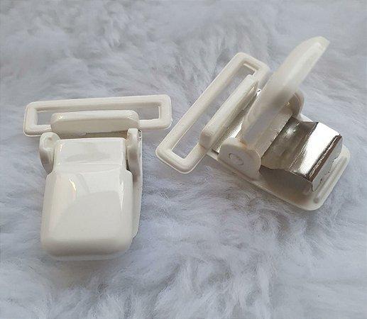 Presilha Plástica com metal (tipo jacaré) - Branca - 37x32mm