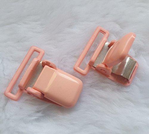 Presilha Plástica com metal (tipo jacaré) - Rosê - 37x32mm