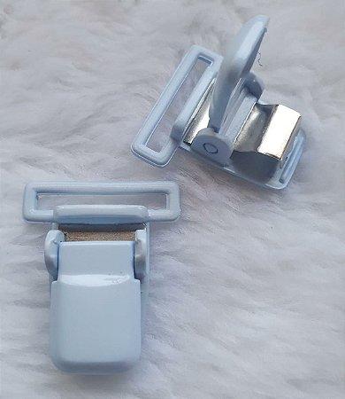 Presilha Plástica com metal (tipo jacaré) - Azul Bebê - 37x32mm