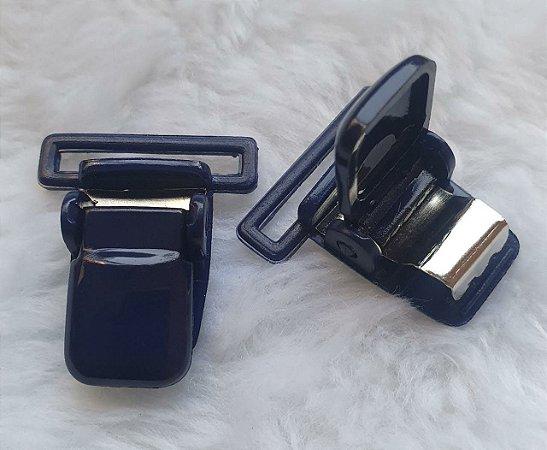 Presilha Plástica com metal (tipo jacaré) - Azul Marinho - 37x32mm
