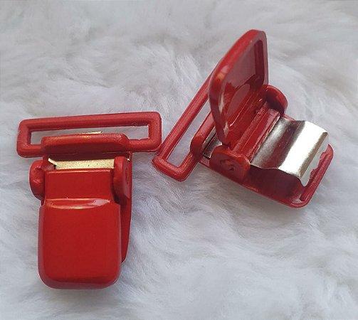 Presilha Plástica com metal (tipo jacaré) - Vermelha - 37x32mm