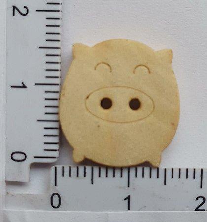 Botão de Madeira Porco, Porquinho- Tamanhos 17mm x 16mm (Pacote com 10 unidades)