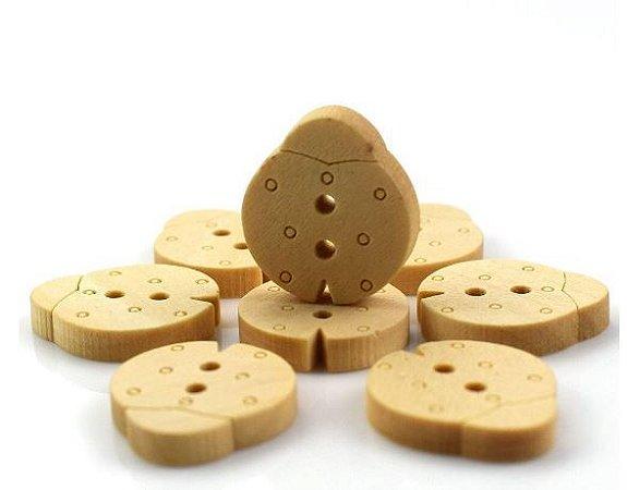 Botão de Madeira Joaninha - 16 x 15 mm - (Pacote com 10 botões)
