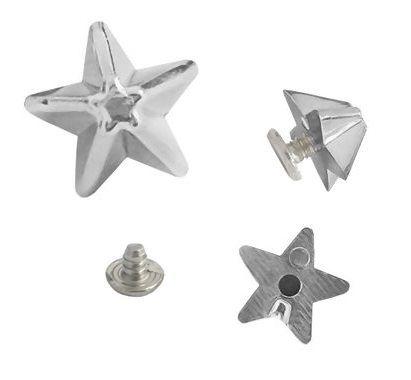 Enfeite Estrela com rebite (de rosca), 9485 cromado, altura. 6mm, diametro 10mm - pacote com 5 unidades