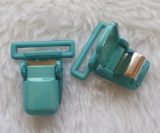 Presilha Plástica com metal (tipo jacaré) - Verde Esmeralda- 37x32mm