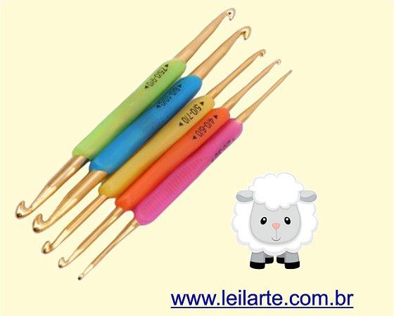 Kit de Agulhas de croche de alumínio, dupla, cabo antiderrapante - *5 agulhas, 10 tamanhos* 1- 2.0mm-3.0mm, 2- 4.0mm-6.0mm, 3- 5.0mm-7.0mm, 4- 7.5mm-9.0mm, 5- 8.0mm-10.0mm