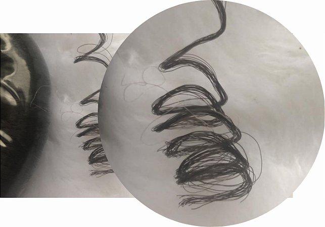 Cabelo de Nylon Ondulado tipo Kanekalon (Maço com aproximadamente 250 Gramas) - cor Castanho Escuro
